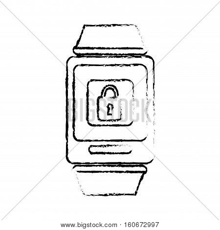 silhouette of smart watch with padlock icon on screen over white background. wearable technology devices design. vector illustration