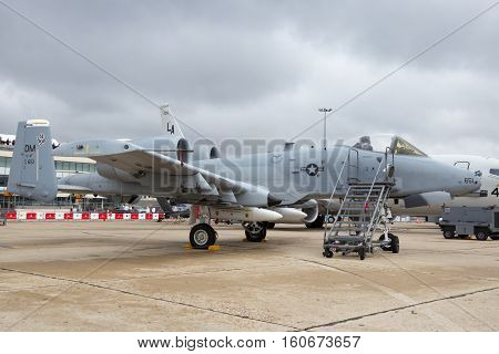 PARIS-LE BOURGET - JUN 18 2015: US AIr Force A-10A Warthog combat plane from Davis-Monthan Air Force Base at the 51st International Paris Air show