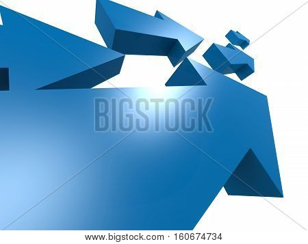 Group Of Blue Arrows Move Upword