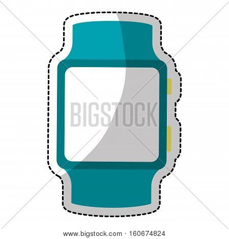 sticker of smart watch icon over white background. wearable technology devices concept. colorful design.  vector illustration
