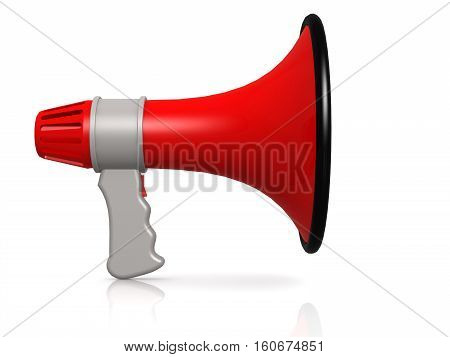 Red Megaphone Isolated On White