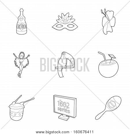 Tourism in Brazil icons set. Outline illustration of 9 tourism in Brazil vector icons for web