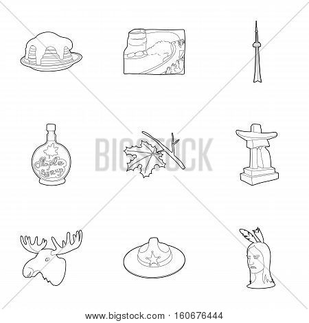 Canada icons set. Outline illustration of 9 Canada vector icons for web