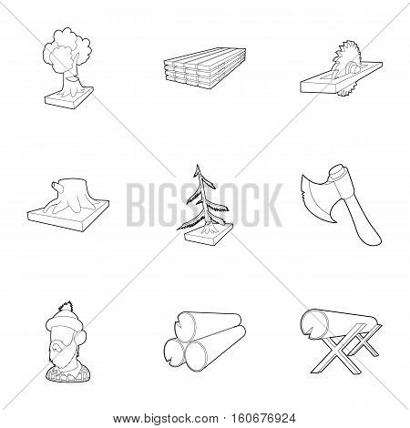 Cutting of trees icons set. Outline illustration of 9 cutting of trees vector icons for web