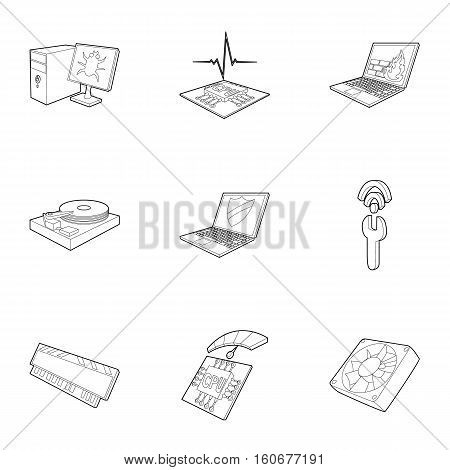 Computer setup icons set. Outline illustration of 9 computer setup vector icons for web