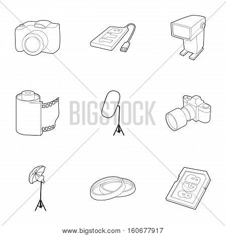 Photo icons set. Outline illustration of 9 photo vector icons for web