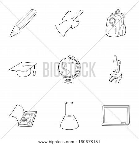 School icons set. Outline illustration of 9 school vector icons for web
