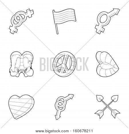 Sexual minorities icons set. Outline illustration of 9 sexual minorities vector icons for web
