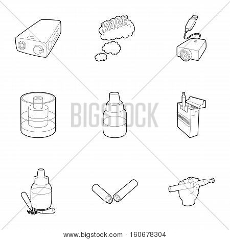 Electronic smoking cigarette icons set. Outline illustration of 9 electronic smoking cigarette vector icons for web