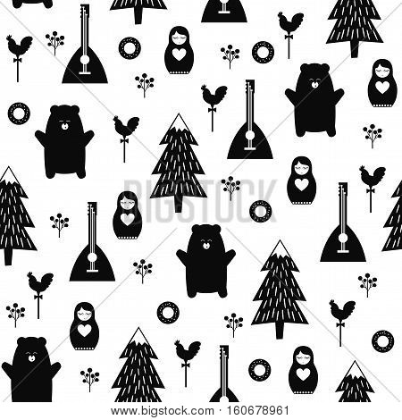 Russian symbols seamless pattern. Black and white cartoon illustration with bear, fir tree, balalaika, nested doll. Russian design for wrapping paper, textile, fabric. Russian style vector background.
