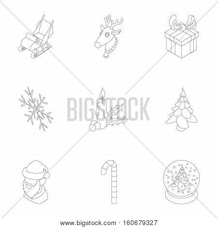 December holiday icons set. Outline illustration of 9 december holiday vector icons for web