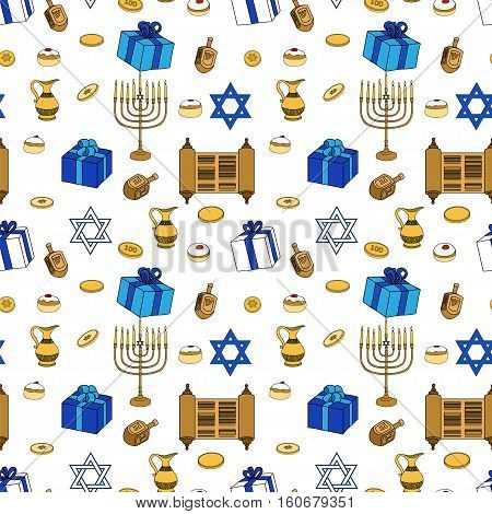 Vector Happy Hanukkah Holiday Seamless Pattern Background. Jewish Colorful Blue and White Illustration.