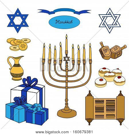 Vector colorful set of Hanukkah objects. Jewish holidays illustration greeting card. Star of David, menorah, dreidel, gelt, presents on white background.