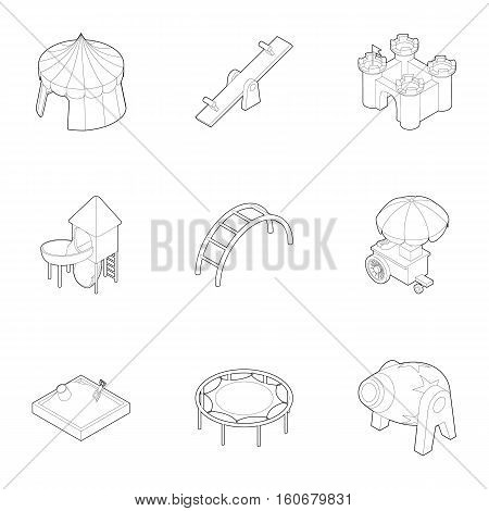 Kids games icons set. Outline illustration of 9 kids games vector icons for web
