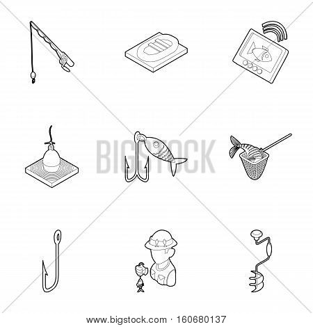 Fishery icons set. Outline illustration of 9 fishery vector icons for web