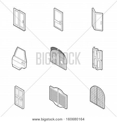 Doorway in house icons set. Outline illustration of 9 doorway in house vector icons for web