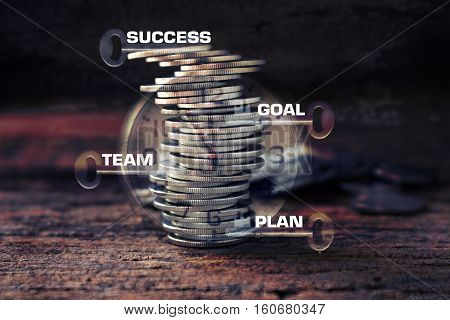 strack of coins and key with timeconcept idea for business plan team goal and success wording