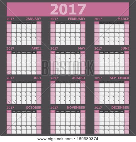 Calendar 2017 week starts on Sunday (pink tone), stock vector