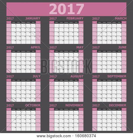 Calendar 2017 week starts on Sunday (pink tone), stock vector
