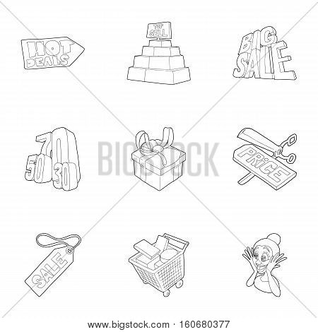 Large discounts icons set. Outline illustration of 9 large discounts vector icons for web