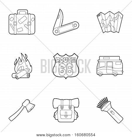 Rest on nature icons set. Outline illustration of 9 rest on nature vector icons for web