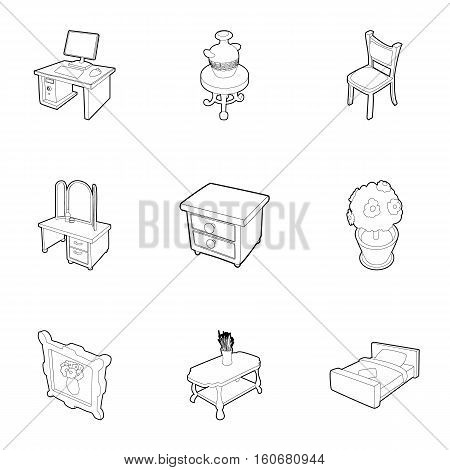 Type of furniture icons set. Outline illustration of 9 type of furniture vector icons for web