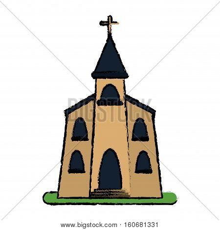 church building religious christian sketch vector illustration eps 10