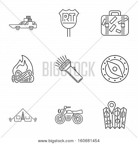 Campground icons set. Outline illustration of 9 campground vector icons for web