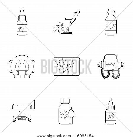 Diagnosis and treatment of diseases icons set. Outline illustration of 9 diagnosis and treatment of diseases vector icons for web