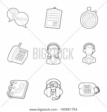 Consultation icons set. Outline illustration of 9 consultation vector icons for web