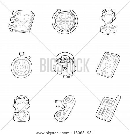 Online consultation icons set. Outline illustration of 9 online consultation vector icons for web