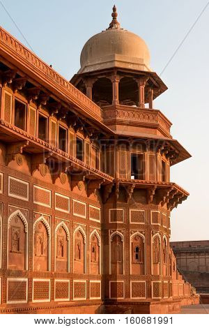 The Walls Of The Famous Red Fort Tower Dome Agra Fort