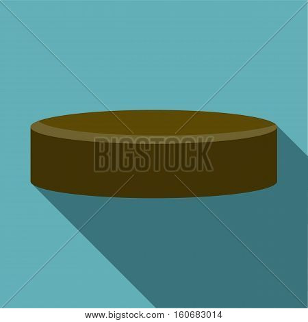 Hockey puck icon. Flat illustration of hockey puck vector icon for web design