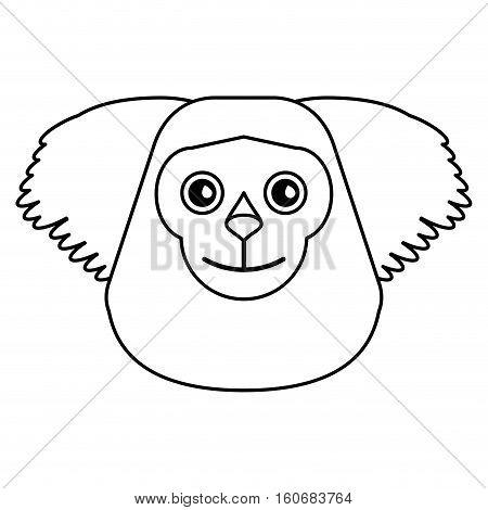 black bearded saki animal brazil outline vector illustration eps 10