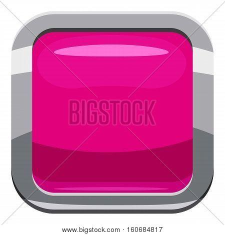 Pink square button icon. Cartoon illustration of square button vector icon for web design