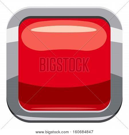 Red square button icon. Cartoon illustration of square button vector icon for web design