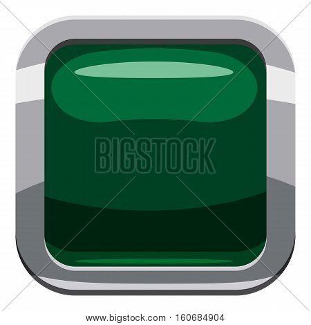 Dark green square button icon. Cartoon illustration of square button vector icon for web design