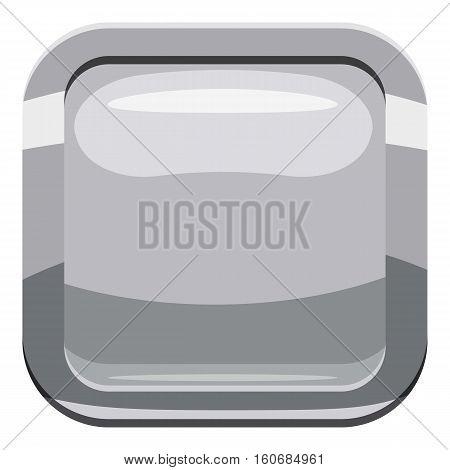 Gray square button icon. Cartoon illustration of square button vector icon for web design