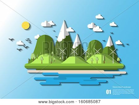 stock vector tropical island with palm tree and hill and turbine