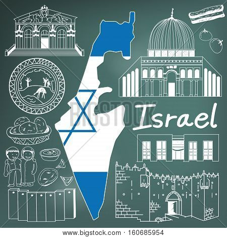 Travel to Israel doodle drawing icon. Doodle with culture costume landmark and cuisine of Israel with friendly Palestine tourism concept in blackboard background create by vector