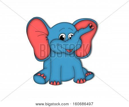 elephant ears animal smile blue red drawing is sitting