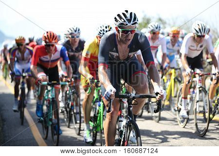 RIO DE JANEIRO, BRAZIL - AUGUST 6, 2016: Cyclist Ian Stannard of Great Britain (front) rides during Rio 2016 Olympic Cycling Road competition of the Rio 2016 Olympic Games in Rio de Janeiro