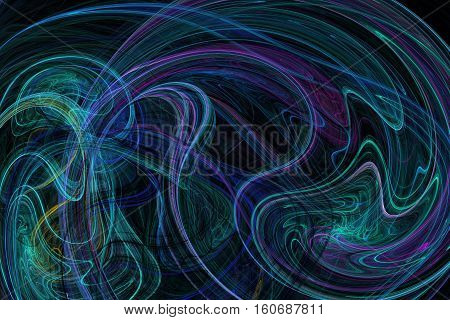 Abstract swirly lines on black background. Fantasy green and blue fractal design for posters postcards or t-shirts. Digital art. 3D rendering.