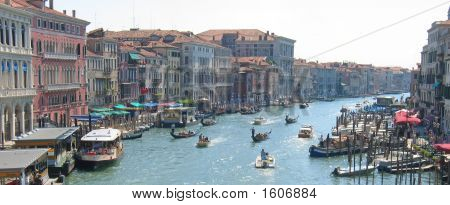 Condolas And Old Houses On A The Main Water Canal, Venice, Italia, Panorama