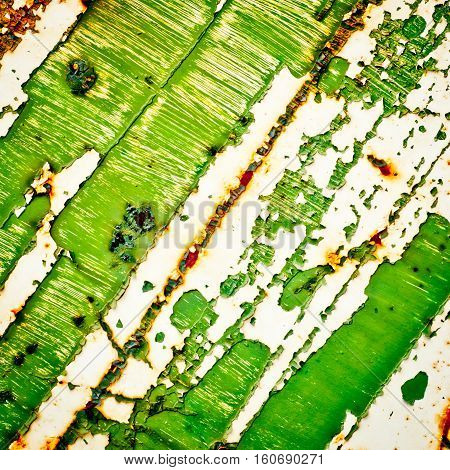 Grunge texture background. Green old paint on rusty metal. Abstract green painting.