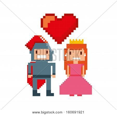 game warrior and princess pixelated icon vector illustration design