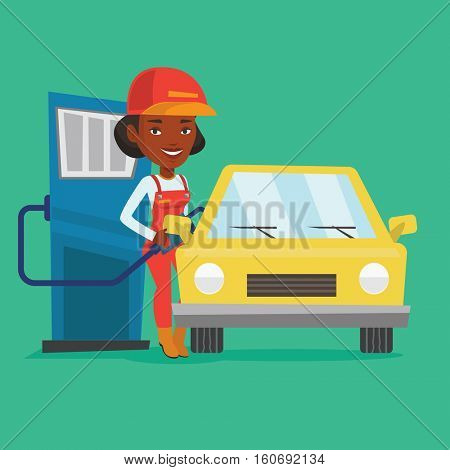 African-american gas station worker filling up fuel into the car. Female worker in workwear at the gas station. Young gas station worker refueling a car. Vector flat design illustration. Square layout