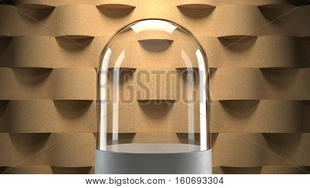 Glass dome with wooden wave pattern  background for display. 3D rendering.