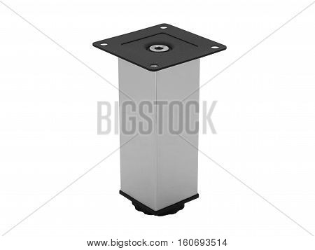 Short metal furniture leg isolated on white background