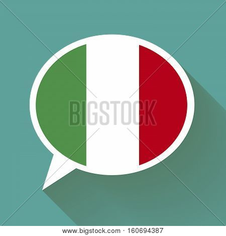 White speech bubble with Italian flag and long shadow on green background. Italian language conceptual illustration